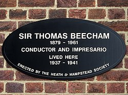 Sir thomas beecham 1879   1961 conductor and impresario lived here 1937   1941