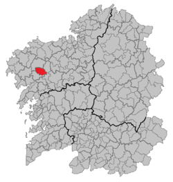 Location of A Baña within Galicia