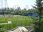 Six Flags New England football field with Superman.jpg