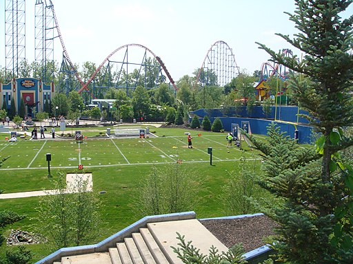 Six Flags New England football field with Superman