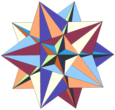 Rotations and reflections form the symmetry group of a great icosahedron. Sixteenth stellation of icosahedron.png