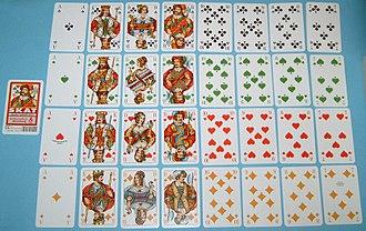 Skat (card game) - Skat deck with tournament face