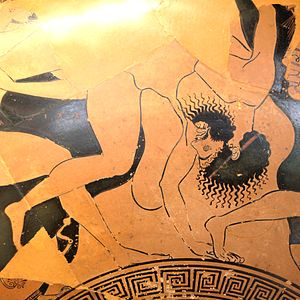 Sciron - Sciron beaten by Theseus, Attic red-figure cup, 500–490 BC, Louvre (G 104).