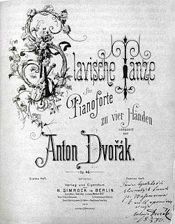 <i>Slavonic Dances</i> cycle of of 16 piano pieces by Antonín Dvořák