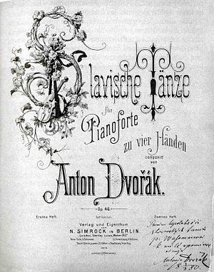 Slavonic Dances - The title page of the first series of Slavonic Dances with Dvořák's dedication to Mr. Wassman