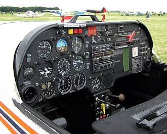 Flight instruments - The cockpit of a Slingsby T-67 Firefly two-seat light airplane. The flight instruments are visible on the left of the instrument panel