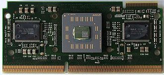 Athlon - An open Slot A cartridge. MPU die is in the center.