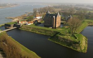 Loevestein Castle - Aerial view of Loevestein Castle.