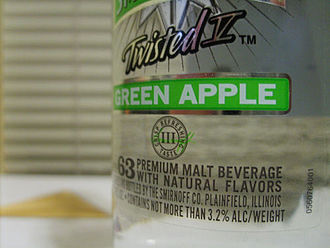 Smirnoff - Smirnoff's number and other information is shown at the bottom of the label. Depicted here is No. 63 — Smirnoff Twisted V Green Apple.
