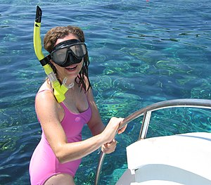 Snorkeler ready for dive.