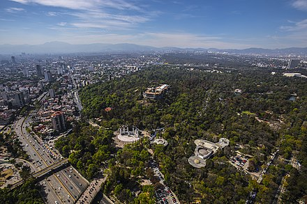 The Chapultepec was an important park during the Aztecs whose access had been limited to its nobility, was declared open to the public by a decree of Charles V, Holy Roman Emperor in 1530, it is one of the world's largest city parks. Sobrevuelos CDMX HJ2A5116 (26515134738).jpg
