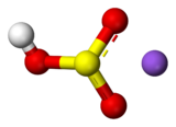 Ball-and-stick model of a bisulfite anion (left) and a sodium cation (right)