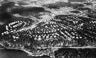 Södra Ängby - Aerial view of Södra Ängby, 1938.