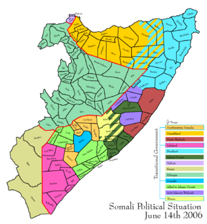 Advance of the Islamic Courts Union - Map depicting the political situation in Somalia on June 14, 2006