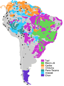 some of the greater families of south america dark spots are language isolates or quasi isolate grey spots unclassified languages or languages with