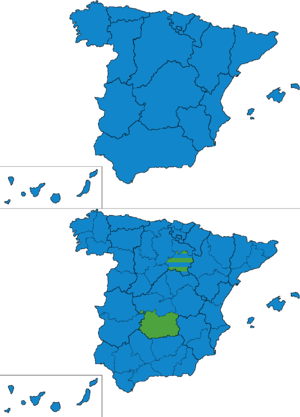 Spanish general election, 1884 - Most voted party by regions and provinces.