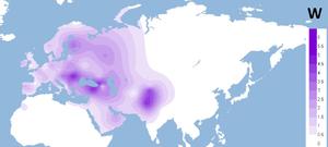 Haplogroup W (mtDNA) - Projected spatial distribution of haplogroup W.