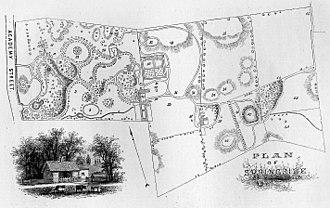 Springside (Poughkeepsie, New York) - Downing's original site plan.