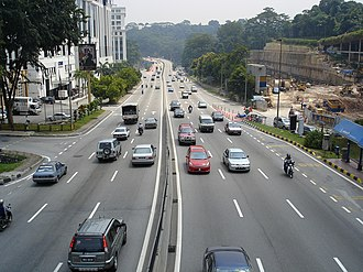Malaysian Expressway System - The Damansara Link section of Klang Valley's Sprint Expressway near Semantan.