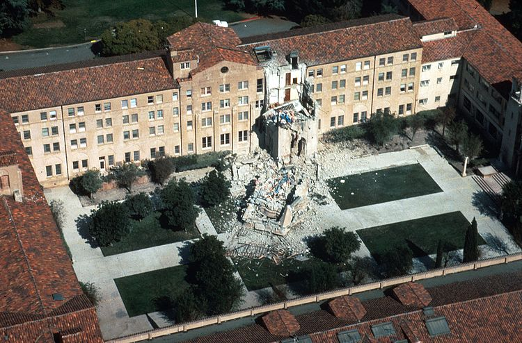 1989 Loma Prieta Earthquake. Photograph of a collapsed five-story tower, St. Joseph's Seminary, Los Altos, California. One person, Curtis Lee Currin, working in the tower was killed
