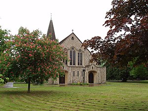 West Byfleet - Image: St John's, West Byfleet, with pink horse chestnut tree geograph.org.uk 172079