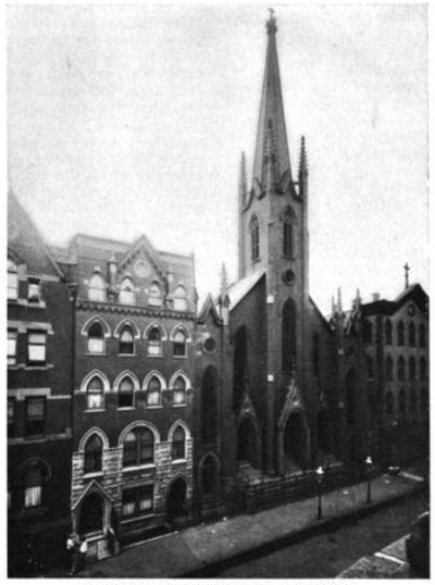 Photograph of St. Nicholas showing Second Street, just west of Avenue A. The church and almost all buildings on the street were demolished in the 1960s and replaced with parking lots St Nicholas Manhattan NYC 1914.png