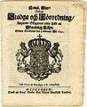 Stadga och Förordning Angående Skogarnes rätta Häfd uti Skaraborgz Lähn (1691) sida01.jpg