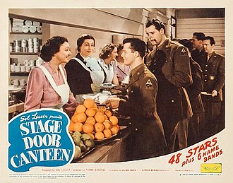 Dorothy Fields - Katharine Cornell, Aline MacMahon and Dorothy Fields serve soldiers played by Lon McCallister and Michael Harrison in the film, Stage Door Canteen (1943)