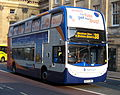 Stagecoach in Newcastle bus 19213 Alexander Dennis Trident 2 Enviro 400 NK57 DWZ in Newcastle avoid the fuss branding 3 April 2009.JPG