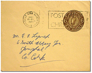 Imprinted stamp - An imprinted stamp on an Irish pre-paid envelope, used 1970.