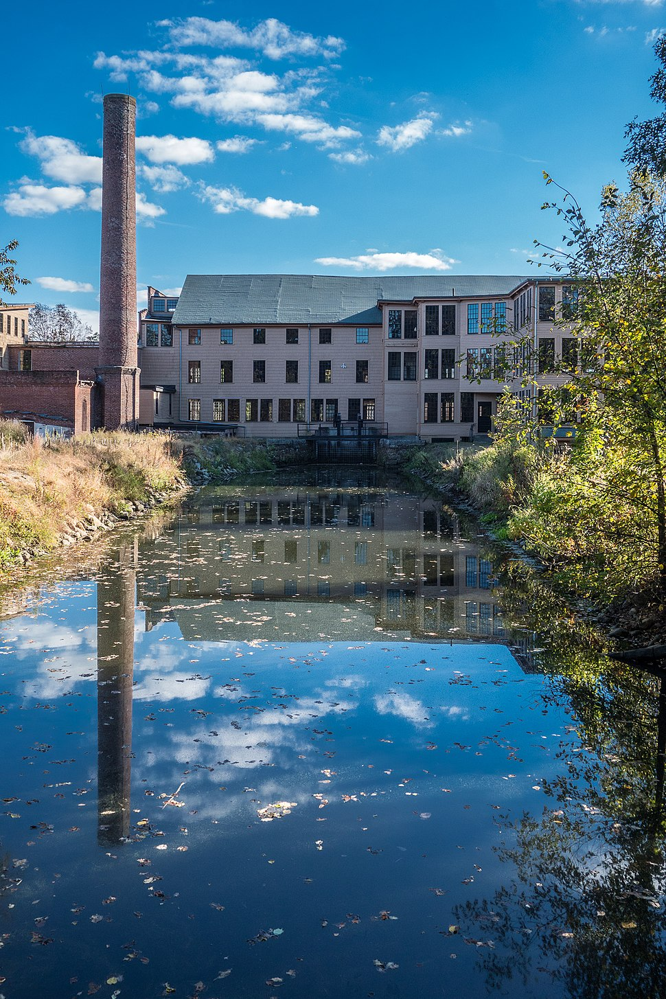 Stanley Woolen Mill Uxbridge MA reflected in Blackstone canal
