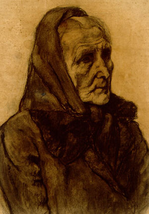 Margaret Lefranc - Starving Woman in Germany, 1921. Charcoal on paper by Margaret Lefranc.