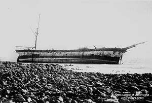 Wardang Island - The remains of the Aagot, not long after it was wrecked in 1907