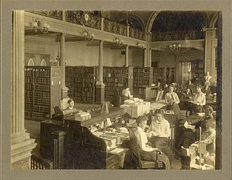 State Library of Massachusetts - The reading room of the State Library of Massachusetts in 1912.