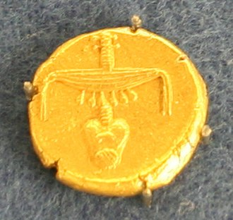 Nectanebo II - Obverse of an Egyptian gold stater of Nectanebo II.