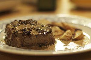 Peppercorn sauce - Steak au poivre with a peppercorn sauce.