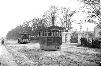 Antrim Road - Steam tram at the gates of Chichester Park, 1897