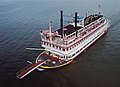 Steamboat Belle of Louisville at Clark Bridge Louisville Kentucky USA Ohio River mile 604 August 1987 file 87h102.jpg
