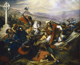 Umayyad invasion of Gaul - The Battle of Tours in 732, depicts a triumphant Charles Martel (mounted) facing Abdul Rahman Al Ghafiqi (right) at the Battle of Tours. Painting (1837) by Charles de Steuben.