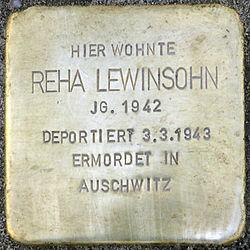 Photo of Reha Lewinsohn brass plaque