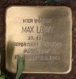 Photo of Max Lewy brass plaque