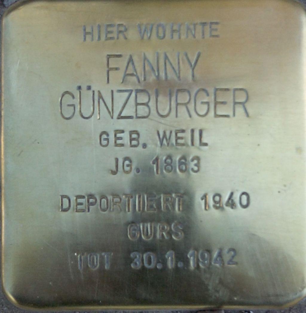 Stolperstein Fanny Günzburger - NK Bahnhof25.jpg