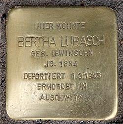 Photo of Bertha Lubasch brass plaque