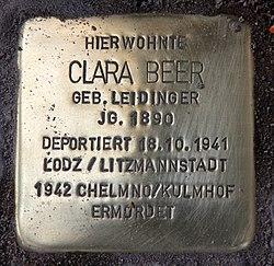 Photo of Clara Beer brass plaque