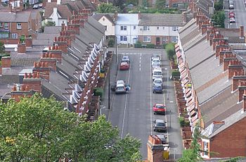 A photo of a street in Loughborough, taken fro...