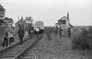 Formartine and Buchan Railway - Buchan Belle railtour on 1 June 1974 at Strichen looking north