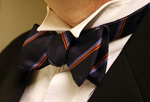 A striped bow tie.