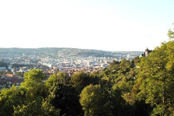 Stuttgart, Blickrichtung Nord von der Weinsteige aus, Innenstadt
