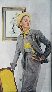 Hat by Hattie Carnegie, shown in Ladies Home Journal, 1948