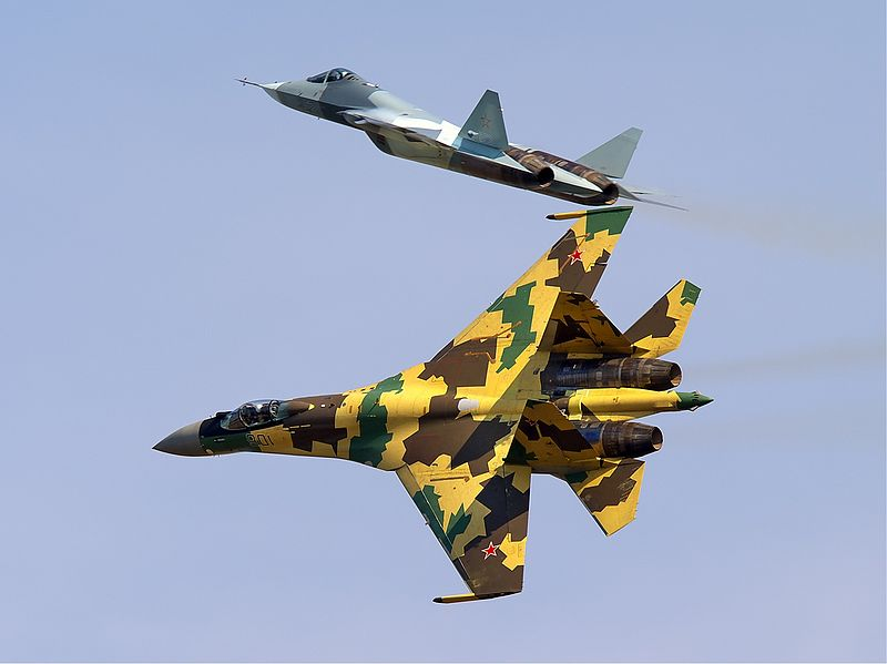 File:Sukhoi Su-35BM and Sukhoi T-50 Belyakov.jpg